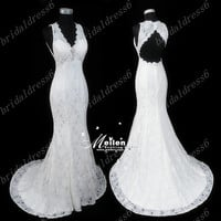 2014 White Crystals V-Neck Lace See-through Shoulder Straps Backless Mermaid Long Wedding Dress,Court Train Lace Evening Party Prom Dress