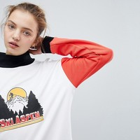 Daisy Street High Neck Sweatshirt With Vintage Print at asos.com