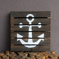 Rustic Gray Anchor Pallet Wood Sign