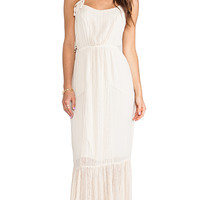 Gypsy 05 Ara Embroidered Panel Maxi Dress in Beige