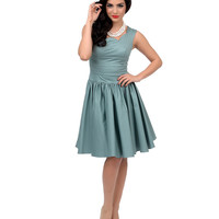 Unique Vintage Roman Holiday Sage Green Scalloped Swing Dress