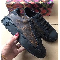 Louis Vuitton new retro stitching printing casual sneakers sneakers