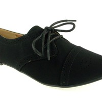 Women's Qupid Nubuck Puncture Lace Up Oxfords Shoes Salya-748 Black