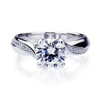Platinum Plated Sterling Silver Round Cut CZ Solitaire Engagement Ring ( Size 5 to 9)