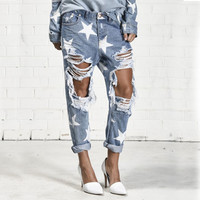 2016 Big Hole Jeans for Women With Five-pointed Star Ripped Jeans  Light Blue Denim Pants boyfriend jeans for women