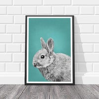 Boy Nursery Print Nursery Animal Prints Teal Boy Nursery Decor Rabbit Print Nursery Bunny Art Boy Nursery Poster Bunny Print Animals Zoo