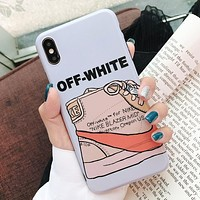 Off White & NIKE Fashion New Letter Print Women Men Protective Cover Phone Case