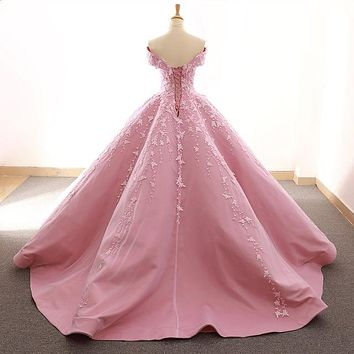 Ballerina Pink Off Shoulder Sweetheart  Puffy Pleated Evening Formal Dress