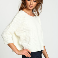 White Chunky Knit Cropped Sweater