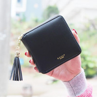 2016 Fashion Women Wallets PU Leather Tassel Female Wallet Ladies Bronzing Clutches New Brand Card Holder valentine's day gift