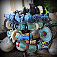 WANDERER~Artisan Six Coil GYPSY Bangle Wrap Bracelets~Purples~Teals~Greens~Silk Sari~African Glass Beads~Vintage Coin~ETHNIC, Earthy~Rustic~