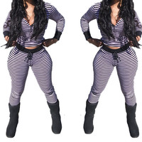 2017 New Spring Sexy 2 Piece Set Women Tracksuit Top Pants Stripped Sweatsuit Outfit V Neck Twinset Fall Feminino striped suits