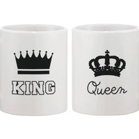 King and Queen Couple Coffee Mug Set Cute Matching Ceramic Mugs Gift for Couples