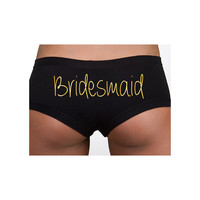 Wedding, Engagement, & Bachelorette Party Clothing - Intimates - Metallic Gold Bridesmaid Cotton Spandex Shortie - Ladies