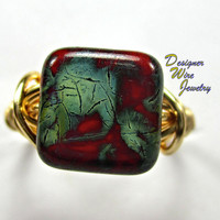 DWJ0224 Czech Picasso Red & Green Gold Wire Wrapped Ring All Sizes