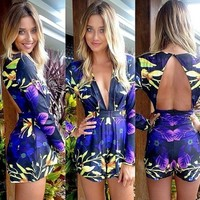 Women New Fashion Summer V-neck Jumpsuits Flower Print Sexy Jumpsuits
