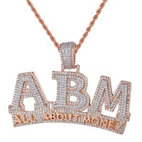 Rose Gold Iced Out ABM All About Money Custom Pendant Chain