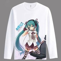 Cartoon Girls/women Hatsune Miku T Shirt Anime Animation Novelty Long Sleeve Men's T-shirt Cosplay Clothing Tops Tee TX037