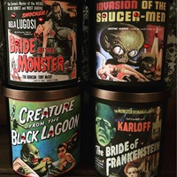2 Classic Horror Movie Black Glass Soy Candles Scented Candles Monster Movies Halloween Decor Home Decor Birthday Gift Ideas Pick Two