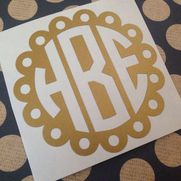 Scallop Monogram |  Dotted Scallop Decal | Circle Scallop Monogram  | Scallop Monogram Car Decal | Preppy Bow Monogram
