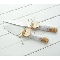 personalized rustic wedding cake knife and server