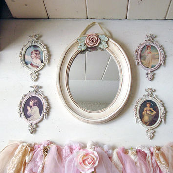 Pink and Mint Nursery Mirror, Oval Ornate Vintage Frame Collection, Blush Pink and Cream Tattered Lace Banner, Shabby Chic Small Rose Mirror