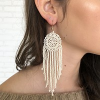 Dream Catcher Beaded Earring In Ivory