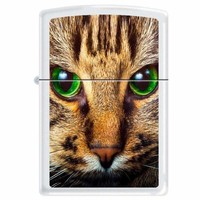 Zippo 7545 Classic White Matte Tabby Cat With Green Eyes Windproof Pocket Lighter