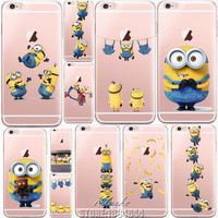 Cute Despicable Me Yellow Minion Design Cover Sofe Minions Case For iphone 6 6s Transparent Silicone Coque Fundas