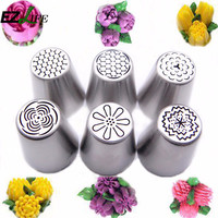 6Pcs/Set Tulip Cake Pastry Nozzles Set Russian Icing Piping Tips Nozzles Cake Decorating Baking Tools Accessories