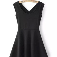 V-neck Sleeveless Back Cross Mini Skater Dress