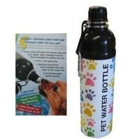 Good Life Gear Stainless Steel Pet Water Bottle, 24-Ounce, Puppy Paw Print Design
