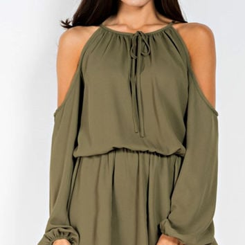 Casual Friday Olive Green Romper