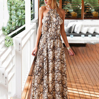 Brown Printed Halter Backless Chiffon A-Line Pleated Maxi Dress