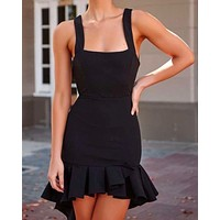 Square Neck Bodycon Frilled High Low Hem Dress in Black