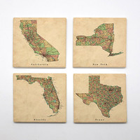 COA-006 - Set of 4 Ceramic Coasters - World Map - City Maps - Map Art - Maps Of Cities  - Vintage & Wanderlust theme - by HeartOnMyFingers