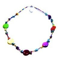 Rainbow Mini Bead, Mother of Pearl, and Jade Natural Chipped Stone Necklace