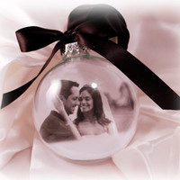 personalized photo ornament with message, will you marry me ornament, glass photo ornament, glass picture bulb,Our first christmas