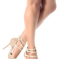 Natural Patent Studded Pointed Toe Single Sole Heels
