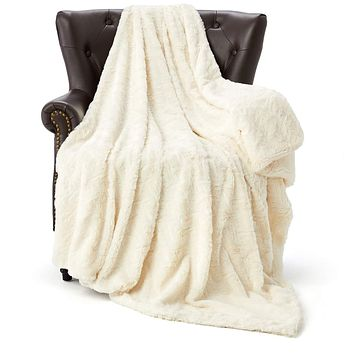 """HT&PJ Luxury Fur Fleece Throw Blanket Reversible Comfy Sherpa Fleece Comforter Faux Fur Style Made of Fluffy Plush for Living Room Decor Bedroom Blanket Couch Sofa Cover (White, 50""""X60"""") White 50""""X60"""""""