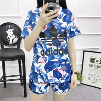 """Adidas"" Women Casual Multicolor Leaf Flamingo Print Short Sleeve Set Two-Piece Sportswear"