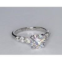 A Perfect 3CT Round Cut Russian Lab Diamond Engagement Ring