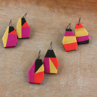 Color block geometric polymer clay dangle earrings, oxidized sterling silver
