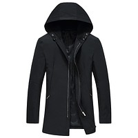 2016 autumn and winter New style Men's fashion leisure Long style hooded trench coat Men's jackets Free shipping