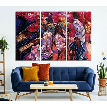 Abstract Jazz Painting Large Canvas Wall Art African American Art Print