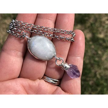 Raw Amethyst Crystal Point and Rainbow Moonstone Necklace