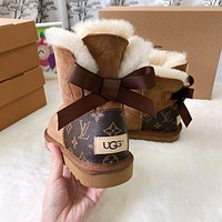 UGG x LV Louis Vuitton fashion stitching leather snow boots men and women non-slip and warm snow shoes
