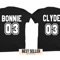 Bonnie clyde shirts, couples shirts, boyfriend girlfriend shirts, king queen shirts, bonnie clyde shirts, tumblr shirt