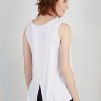 Athletic Mid-length Sleeveless Boost the Basics Tank in White