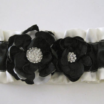 Shirt Garters Arm Bands Custom Ordered to your Colors Shown Ivory and Black with Flowers and Rhinestone Accent Homecoming Prom Wedding